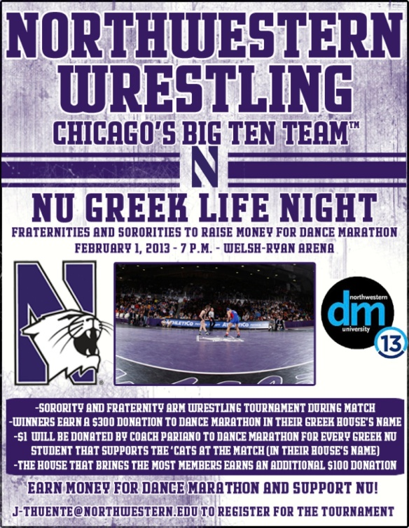 Greek Night at NU Wrestling for DM